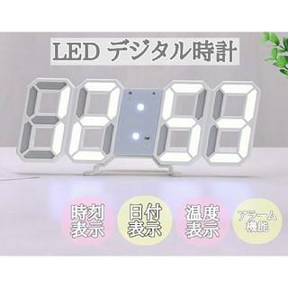 LED デジタル時計 置き時計 壁掛け 卓上 韓国 白 3D 目覚まし アラーム(置時計)