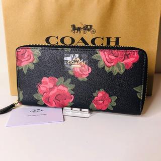 コーチ(COACH)の【新品】COACH コーチ 長財布 赤薔薇 ブラック ラウンドファスナー(財布)