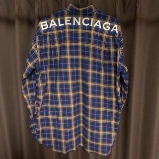Balenciaga - BALENCIAGA バックロゴ チェックシャツ