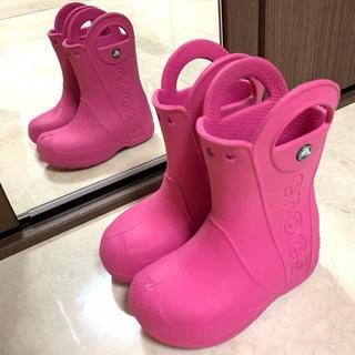 crocs - クロックス 長靴 レインブーツ ハンドルイット ピンク C9 16.5cm