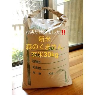 とれたて新米、さめても美味しい森のくまさん玄米30kg(米/穀物)