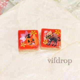 ハロウィン花柄のパステルレッドタイルピアス イヤリング(ピアス)