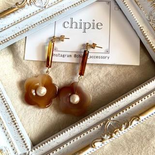 再∞販 marble brown flower pierce