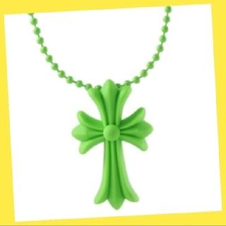 シリコンネックレス クロスモチーフ ラバー 男女兼用 十字架 ノーブランド 緑