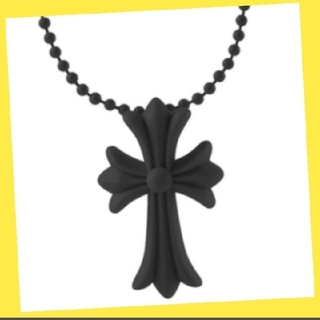 シリコンネックレス クロスモチーフ ラバー 男女兼用 十字架 ノーブランド 黒