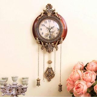 壁掛け時計 振子時計 静音時計 木製 アンティーク調