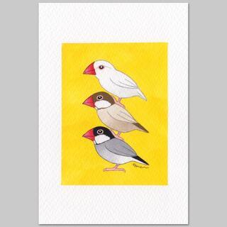 文鳥ブレーメン 一点もの絵画 北欧(ファブリック)