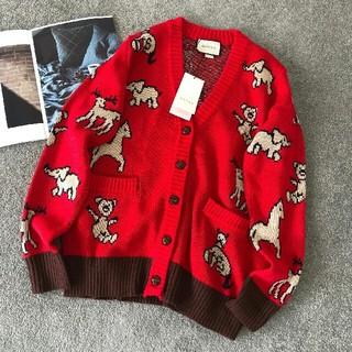 Gucci - 赤いアニマルセーターコート