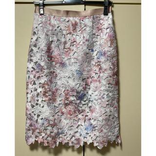 JUSGLITTY - ジャスグリッティー レースプリントタイトスカート 花柄 レース ピンク Mサイズ
