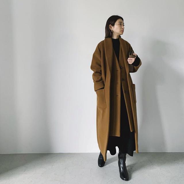 HYKE(ハイク)のRIM.ARK レイヤードスタイルロングコート レディースのジャケット/アウター(ロングコート)の商品写真