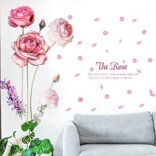新品 ㊺ ウォールステッカー 北欧 バラ ピンク DIY 壁飾 剥がせるシール (その他)