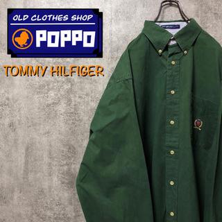 TOMMY HILFIGER - トミーヒルフィガー☆オールド刺繍ロゴポケットボタンダウンシャツ 90s