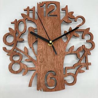 ウォールクロック 壁掛け時計 北欧 ナチュラル 木製 小鳥 ウッド(掛時計/柱時計)