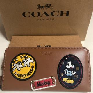 COACH - COACH長財布 ミッキーキャメルレザーラウンドファスナー