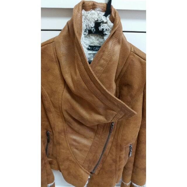 ボア もこもこ ライダースジャケット レディースのジャケット/アウター(ライダースジャケット)の商品写真
