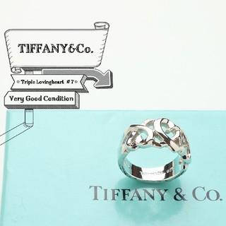 ティファニー(Tiffany & Co.)の新品仕上げ 美品 ティファニー トリプル ラヴィング ハート 7号 リング(リング(指輪))