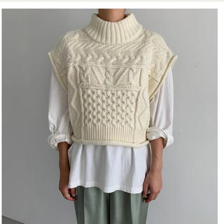 TODAYFUL - high neck patchwork cable knit vest