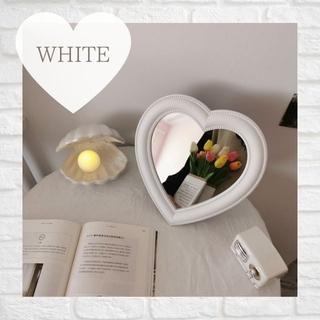 ハートミラー 韓国 雑貨 インテリア ハート 鏡 オシャレ かわいい 北欧 白(卓上ミラー)