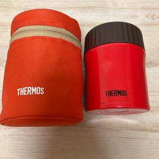 サーモス(THERMOS)のサーモス 真空断熱スープジャー 380ml レッド ポーチセット(弁当用品)