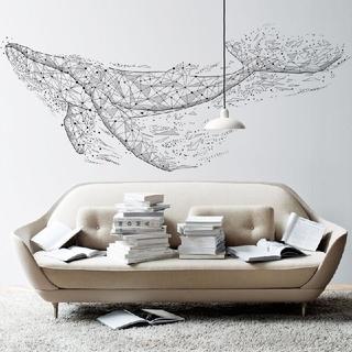 送料無料 新品 ㊸ ウォールステッカー 北欧 クジラ ブラック DIY 壁飾り (その他)