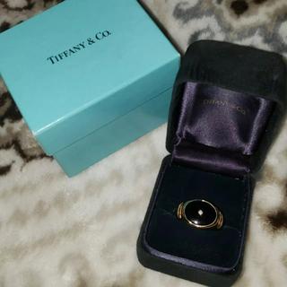 ティファニー(Tiffany & Co.)のTiffany&co. 10K Gold Diamond Onyx Ring(リング(指輪))