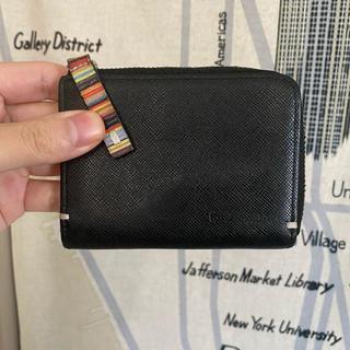 ポールスミス(Paul Smith)のポールスミス コインケース マルチストライプ ジップストローグレイン ブラック(折り財布)