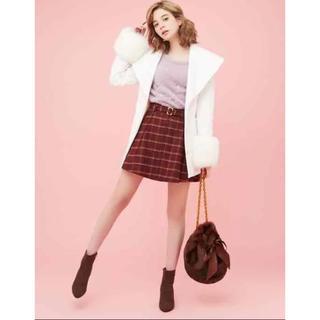 ダズリン(dazzlin)のダズリン ベルト付き チェック フレアスカート 赤 秋服 かわいい(ひざ丈スカート)