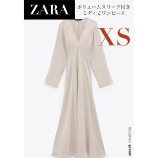 ZARA - 【新品/未着用】ZARA ボリュームスリーブ付きミディ丈ワンピース ワンピース