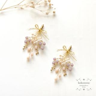 636 【残りわずか】秋の実り 小枝 リボン ブーケ ピアス イヤリング (ピアス)