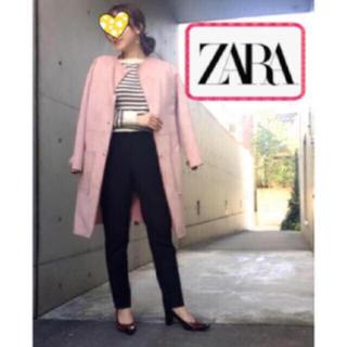 ザラ(ZARA)のZARA スウェード コート ノーカラー ピンク(ロングコート)