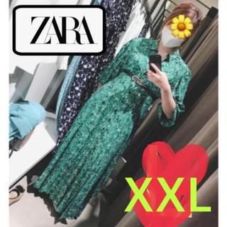 ザラ(ZARA)の新品♡大人気完売 ZARA グリーン 緑 花柄 マキシワンピース 着痩せ(ロングワンピース/マキシワンピース)