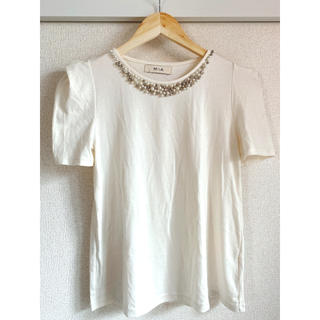 MIIA - MIIA パールビジュー付き トップス Tシャツ