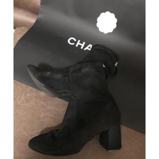 ザラ(ZARA)のZARA  スウェード ストレッチ ブーツ 黒(ブーツ)