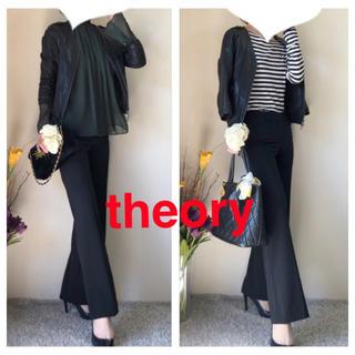 theory - theory セオリー ウール混紡 通年 美脚パンツ ブラック サイズ2 M 黒