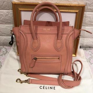 セリーヌ(celine)の美品♡セリーヌ ナノ ラゲージ ショッパー 正規品 本物 ピンク ショルダー(ショルダーバッグ)