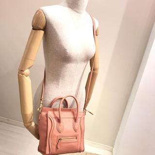 セリーヌ(celine)の美品♡セリーヌ♡ナノ ラゲージ ショッパー 正規品 本物 ピンク ショルダー(ショルダーバッグ)