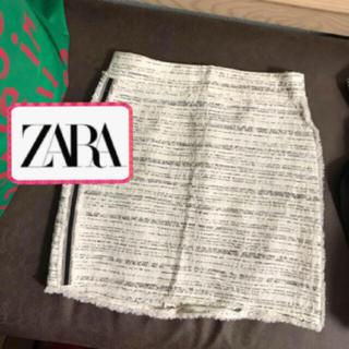 ザラ(ZARA)のZARA 秋 ツイード 白 ミニスカート(ミニスカート)
