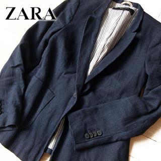 ザラ(ZARA)の美品 (EUR)S ZARA BASIC ザラ レディース ジャケット ネイビー(テーラードジャケット)