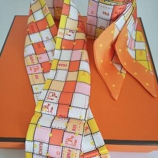 ツイリー スカーフ 2枚セット オレンジ×ホース