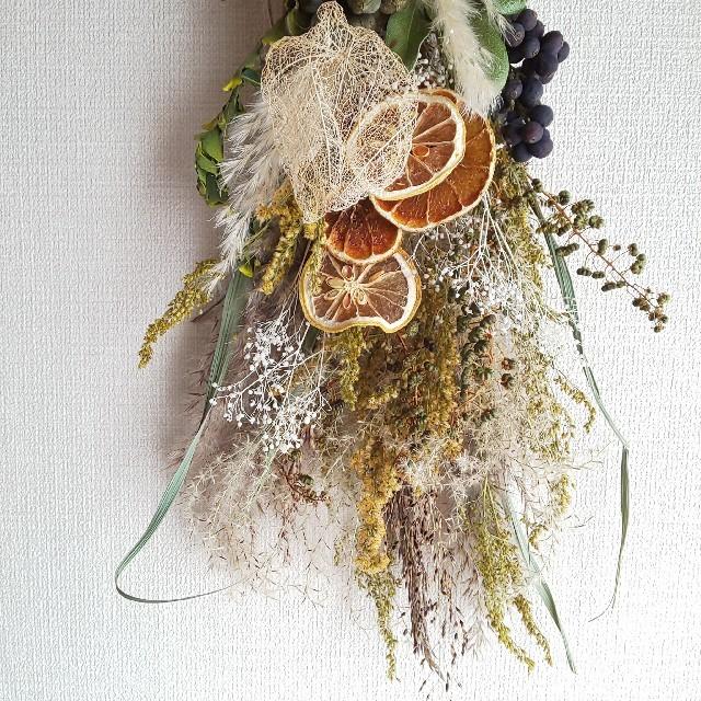 *専用*スカシホウズキ&オレンジ   ドライフラワースワッグ ハンドメイドのフラワー/ガーデン(ドライフラワー)の商品写真