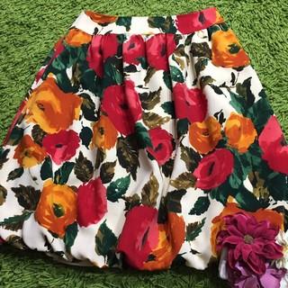 エムズグレイシー(M'S GRACY)のエムズグレイシー レディフラワープリント スカート(ひざ丈スカート)