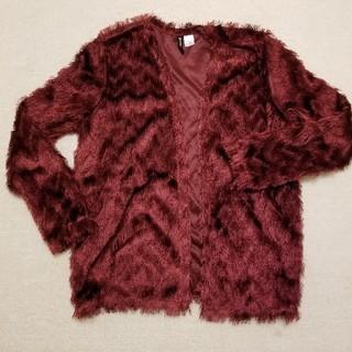 エイチアンドエム(H&M)の美品♥H&M フリンジ ジャケット ボルドー 長袖カーディガン(ノーカラージャケット)