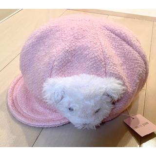 メゾピアノ(mezzo piano)の【新品】メゾピアノ 帽子 キャスケット くま ピンク 52〜54cm(帽子)