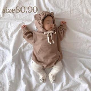 韓国 子供服 くま耳ロンパース ブラウン カーキ ベビー タイツセット クマ
