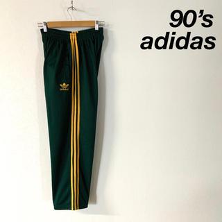 adidas - 90's adidas トラックパンツ グリーン イエロースリーストライプ