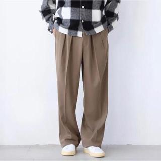 COMOLI - 希少 NEAT ウールギャバジン ワイドスラックス  48 neat comol