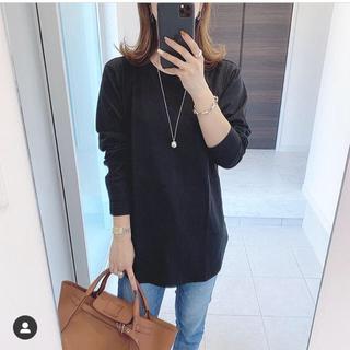 UNIQLO - コットン ロングシャツテール Tシャツ 黒