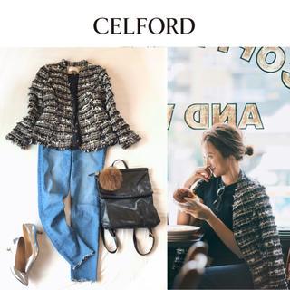FOXEY - 美品CELFORD 18AWセルフォードOggi掲載ノーカラーツイードジャケット