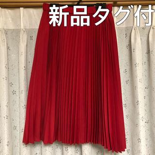 ローリーズファーム(LOWRYS FARM)の□ タグ付新品 □ LOWRYS FARM プリーツスカート  赤 フリーサイズ(ひざ丈スカート)