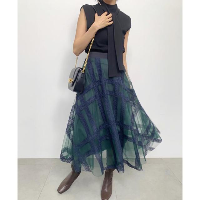 snidel(スナイデル)のエンブロイダリーチェックスカート レディースのスカート(ロングスカート)の商品写真